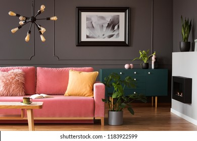 Real photo of powder pink sofa with open book standing in dark living room interior with wainscoting wall, eco fireplace and fresh plants