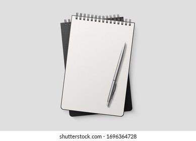Real photo, spiral bound notepad mockup template with black paper cover, isolated on light grey background. High resolution.