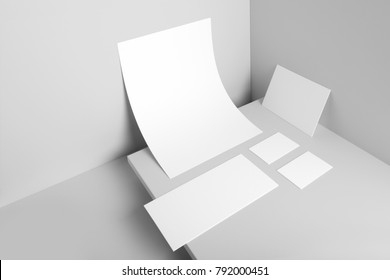 Real photo, stationery branding mockup template, isolated on light grey background to place your design.