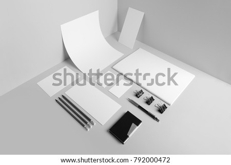 Real Photo Stationery Branding Mockup Template Isolated On Light Grey Background To Place Your