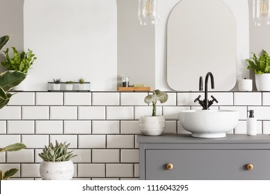 Real photo of a washbasin on a cupboard in a bathroom interior with tiles, mirror and plants