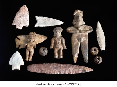 Real Pre Columbian figures,spindle whorls and arrowheads.