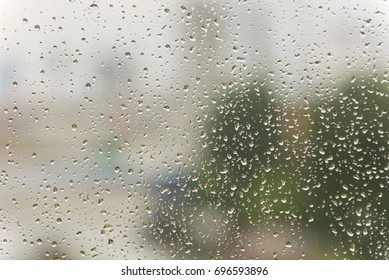 Real rain drops on the window
