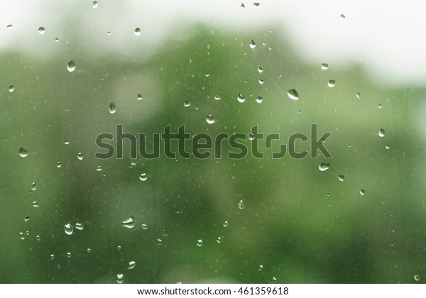 real rain drops on window glass in high resolution
