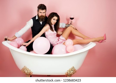 Real relaxation. Couple in love relax in bathroom. Family couple enjoy everyday hygiene. Routine of everyday life. Healthy life style. Everyday family life. Having their own daily routine.