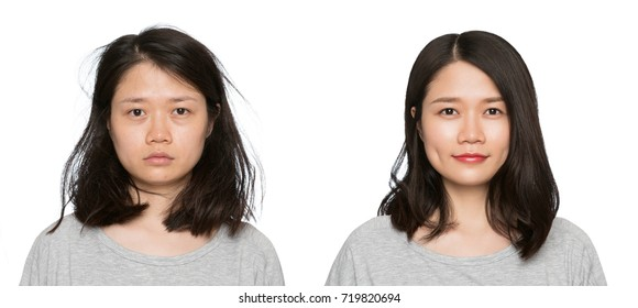 Real result without retouching. Brunette woman before and after makeup.Set of two pictures of the same woman