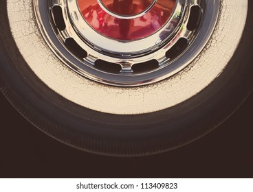 Real retro tire, withe vintage look editing