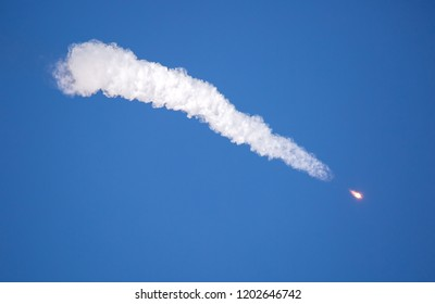 Real Rocket in Flight, Launch Rocket From the Baikonur Cosmodrome, a Flying Rocket in the Sky. Rocket launcher crash explosion and fall spaceship the Soyuz