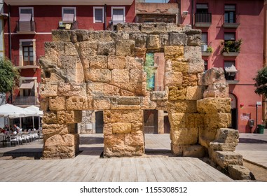 Real ruins or remains of Provincial Forum's portico of Tarraco, in the middle of the city of Tarragona, Spain.The Archaeological Ensemble of Tarraco is declared a UNESCO World Heritage Site Ref 875