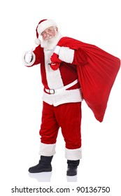 real Santa Claus carrying big bag and showing ok, isolated on white background