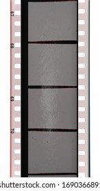 real scan of 35mm cine filmstrip with empty or blank frames, cool vintage photo placeholder on white background.