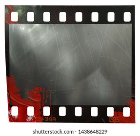 real scan of 35mm filmstrip with red color looking like blood on it, scratched surface