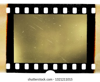 real scan of 35mm movie film strip or photo frame with burned edges, empty retro picture placeholder for your content