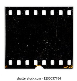 real scan of an old and grungy 35mm filmstrip on white, real film grain, dust and signs of usage, black photo frame