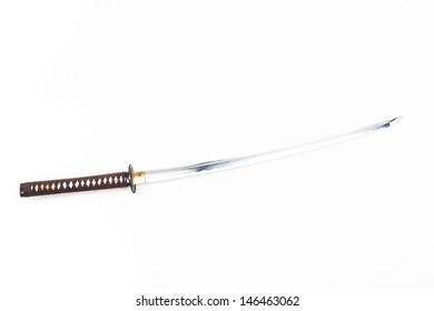 Real sharp traditional Japanese sword on a white background