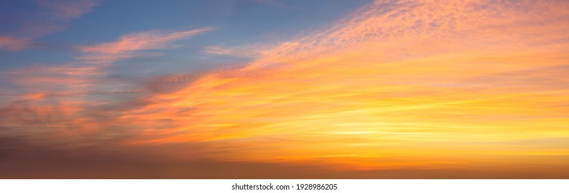 Real Sky Panoramic view of  Sunset  Sunrise Sundown Skyscape with gentle colorful clouds, long panorama, crop it