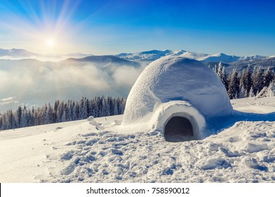 real snow igloo in the mountains under blue sky and sun