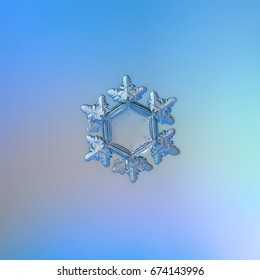 Real snowflake macro photo: small snow crystal of star plate type with short, broad arms with glossy relief surface and big, flat hexagonal center. Snowflake glittering on smooth gradient background.