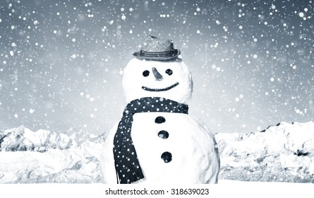 Real Snowman Outdoors In White Scenery Concept
