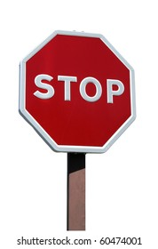 Real stop sign with details isolated on white background