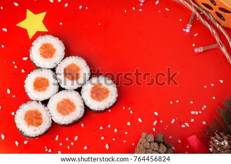 Real sushi set Christmas