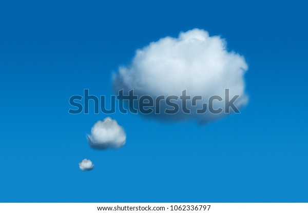 real thought cloud, thinking cloud or bubble in a real photo before blue sky.