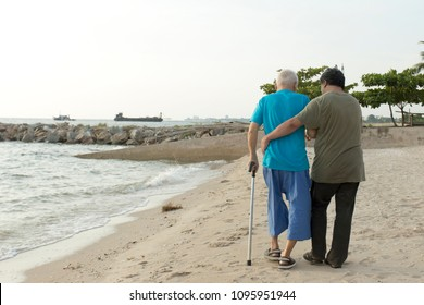 Real view of Senior man 80 Year who has alzheimer's disease. Memory problems due to Dementia and disease as a medical health care with a brain scared. Concept freelance nurse helpful caregiver.