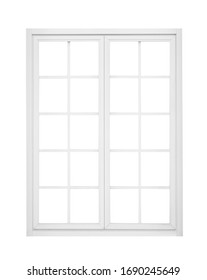 Real vintage house window frame isolated on white background