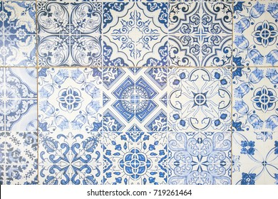 Real vintage tiles background and texture