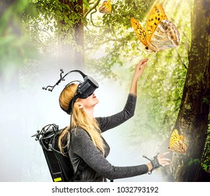 Real and virtual world on one image. young smiling woman in virtual reality glasses and equipment with sensors on head and hands in room and in mystery forest. full immersion