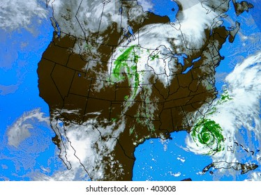A real weather map at an airport. You can see Hurricane Frances (September 5, 2004) over Florida.  49 lives were lost and damages totaled 12 billion (2004) dollars.