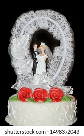 Real Wedding Cake on black background