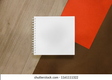 real white sketchbook notepad mockup, add logo, doodle, text, design, flat lay