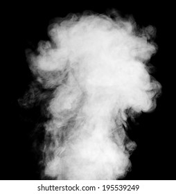 Real white steam isolated on black background with visible droplets.