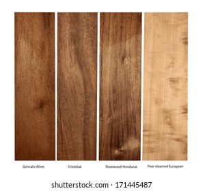 real wood samples of Goncalo-Alves, Cristobal, Rosewood-Honduras and Pear-steamed European, isolated
