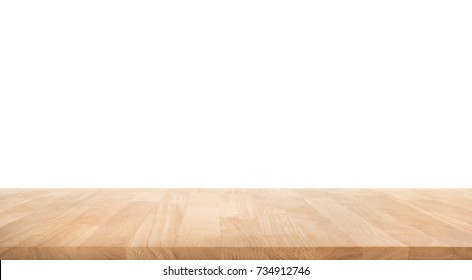 Real wood table top texture on white background.For create product display or design key visual layout