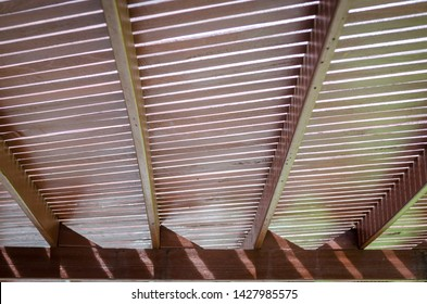 Real Wooden slat roof covered walkway