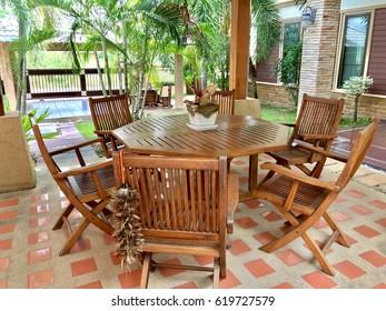 real wooden table summer set, Thailand wooden summer set