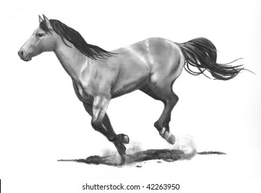 Realism Drawing of Running Horse