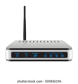 Realisti Wireless Router with the antenna. Signs on a separate layer