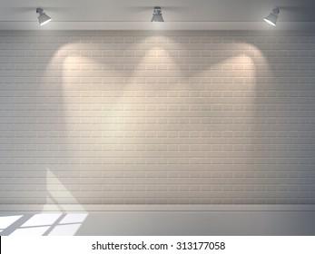 Realistic 3d brick wall with projectors studio interior background  illustration