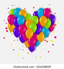 Realistic 3d Colorful Heart Bunch of  Balloons Flying for Party and Celebrations with confetti. Trendy Design element of Happy Birthday or Valentine's day.
