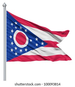 Realistic 3d flag of United States of America Ohio fluttering in the wind.