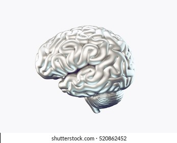 Realistic 3d Illustration of sci-fi human brain made of metal isolated