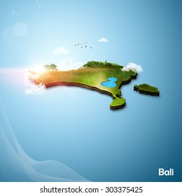 Realistic 3D Map of Bali