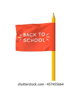 Realistic 3D poster flag Back to school - Shutterstock ID 457455664
