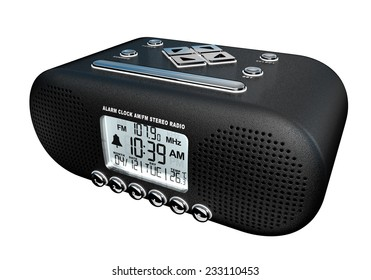 Realistic 3D render of an alarm clock am/fm stereo radio isolated over white background