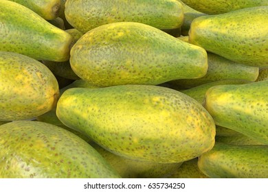 realistic 3d render of papaya fruits