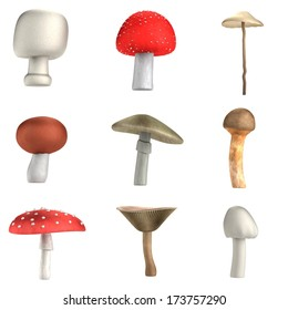 realistic 3d render of poison mushrooms