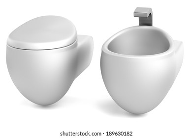 realistic 3d render of toilet with bidet